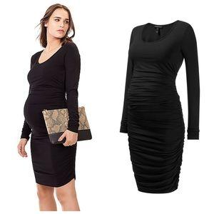 Isabella Oliver maternity black ruch dress